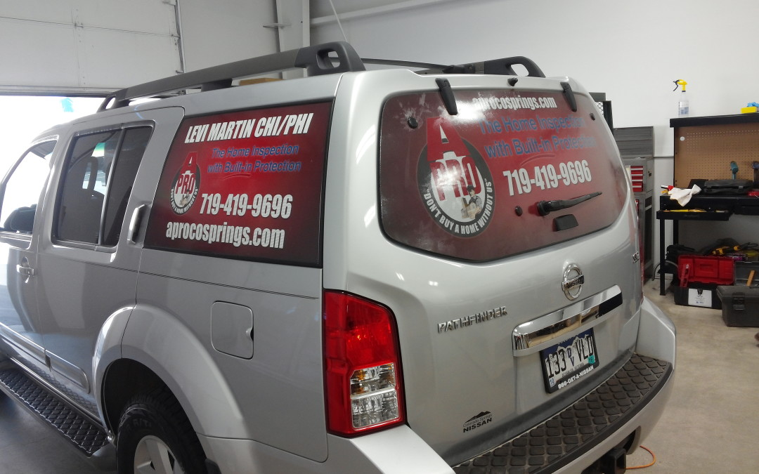 Vehicle Window Graphics Colorado Springs CO for A-Pro Home Inspection